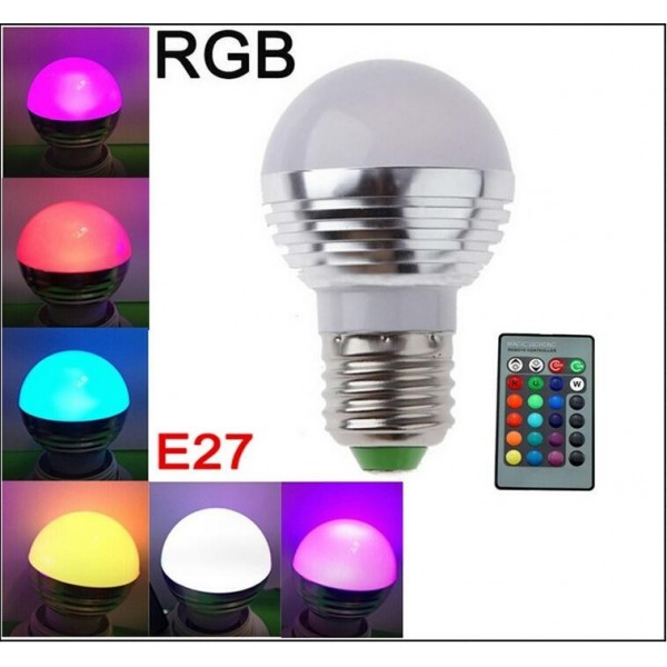 AC85V 265V 3W E27 E14 Color Change LED RGB Magic Light Dimmable Lampada  Bulb Spot
